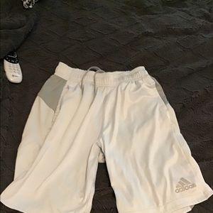 Adidas athletic shorts grayish white